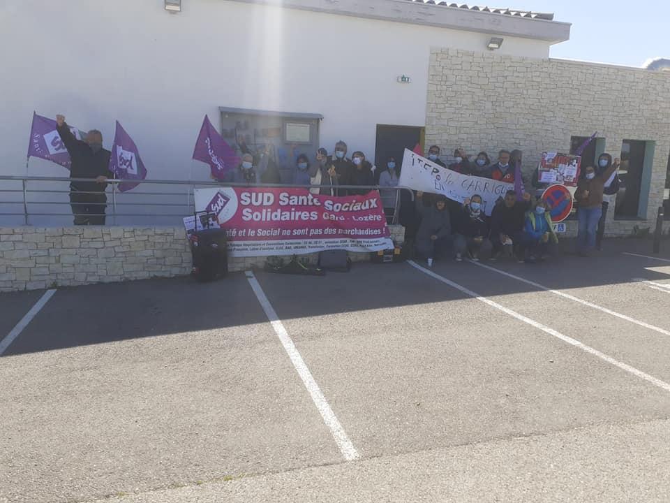 Piquet de grève à l'ITEP Les Garrigues à Sanhiac